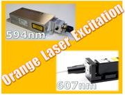 赤色蛍光タンパク質の励起用に適したオレンジ色DPSSレーザー