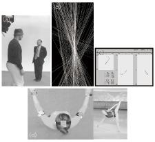図2 室伏選手,フィギュアスケート選手の計測 (a)蛍狩りカメラによる計測風景 (b)体軸のビジュアリゼーション (c)頭頂部ぶれの三面表示 (d)ジャンプ,スピンの品質計測