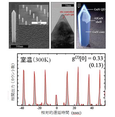 室温単一光子発生を実現したGaN/AlN ナノワイヤ量子ドットと光子相関測定結果