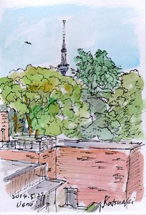 日本のスケッチから「東京都美術館から見たスカイツリー」